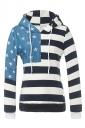 Women American Flag Printed Drawstring Hoodie Navy Blue