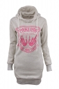 Women Drawstring Printed Lined Hoodie Light Gray