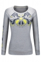 Women Crew Neck Long Sleeve Cartoon Printed Sweatshirt Light Gray
