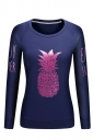 Women Crew Neck Long Sleeve Pineapple Printed Sweatshirt Navy Blue