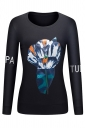 Women Crew Neck Long Sleeve Printed Sweatshirt Black