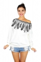 Women One Shoulder Feather Printed Lined Sweatshirt Black And White