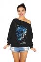 Women One Shoulder Butterfly Skull Printed Lined Sweatshirt Black