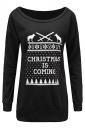 Women Crew Neck Letter Printed Christmas Sweatshirt Black