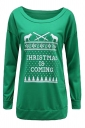 Women Crew Neck Letter Printed Christmas Sweatshirt Green