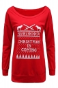 Women Crew Neck Letter Printed Christmas Sweatshirt Red