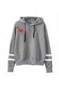 Womens Draw String Flower Embroidered Hoodie Gray