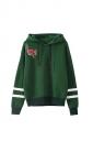 Womens Draw String Flower Embroidered Hoodie Green