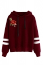 Womens Draw String Flower Embroidered Hoodie Ruby