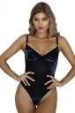 Women Sexy Low Cut Adjustable Strap Backless Velvet Bodysuit Blue