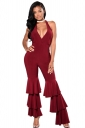 Sexy Deep V Halter Backless Pleated Flare Bottom Jumpsuit Ruby
