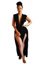 Sexy Deep V Lace Up Backless Ruffle High Splits Jumpsuit Black