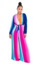 Sexy Deep V Colorful Strips Wide Legs Belt Jumpsuit Rose Red