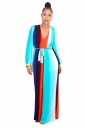 Sexy Deep V Colorful Strips Wide Legs Belt Jumpsuit Turquoise