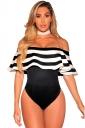 Sexy Stripes Ruffle Off Shoulder Bodysuit Black