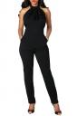 Women Sexy Ruffled Neck Halter Backless Jumpsuit Black
