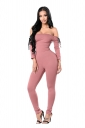 Women Sexy Off Shoulder Eyelet Lace Up Skinny Jumpsuit Pink