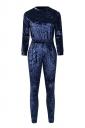 Women Skinny Velvet Long Sleeve Plain Jumpsuit Navy Blue