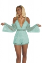 Sexy Eyelet Deep V Lace Spaghetti Straps Hollow Out Romper Light Blue