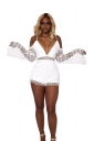 Sexy Eyelet Deep V Lace Spaghetti Straps Hollow Out Romper White