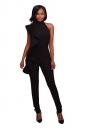 Women Sexy High Waist Sleeveless Ruffled Plain Jumpsuit Black