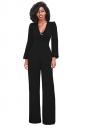 Women Vintage Deep V Lace Up High Waist Wide Legs Jumpsuit Black