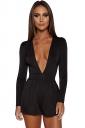 Womens Sexy Deep V-Neck Long Sleeve Back Zipper Romper Black