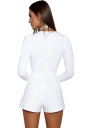 Womens Sexy Deep V-Neck Long Sleeve Back Zipper Romper White