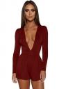 Womens Sexy Deep V-Neck Long Sleeve Back Zipper Romper Ruby