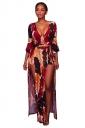 Womens Deep V-Neck Split Floral Printed Bell Sleeve Romper Ruby