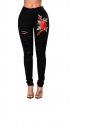 Women Ripped Flower Embroidered Skinny Jeans Black