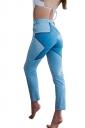 Women High Waist Star Printed Skinny Jeans Light Blue