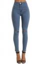 Women Elastic Ripped Plain Skinny Jeans Blue
