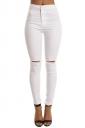 Women Elastic Ripped Plain Skinny Jeans White