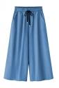 Women Loose Elastic Waist Wide Legs Denim Pants Light Blue