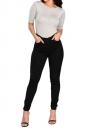 Women High Waist Plain Skinny Jeans Black