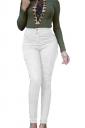 Women High Waist Plain Skinny Jeans White