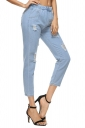 Womens Fashion Elastic Waist Ripped Long Jeans Light Blue