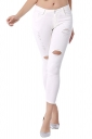 Womens Fashion Elastic Ripped Skinny High Waist Jeans White