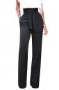 Women Elegant Wide Legs Belt Plain Pants Black