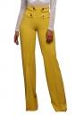 Women Button Decoration Wide Legs High Waist Pants Yellow