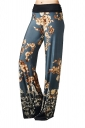 Women Casual Draw String Floral Printed Loose Pants Navy Blue