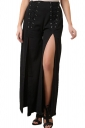 Women Wide Legs High Slits Leisure Pants Black