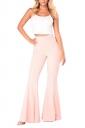 Women Bell Bottom High Waist Plain Leisure Pants Pink