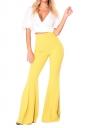 Women Bell Bottom High Waist Plain Leisure Pants Yellow