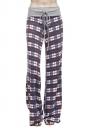 Women Casual Drawstring Plaid Loose Pants Purple
