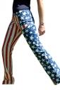 Women Casual Drawstring American Flag Printed Loose Pants Red