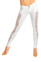 Women Sexy Lace Patchwork Skinny Pants White