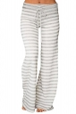 Womens Casual Drawstring Stripes Loose Loungewear Pants Gray