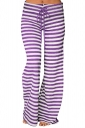 Womens Casual Drawstring Stripes Loose Loungewear Pants Purple